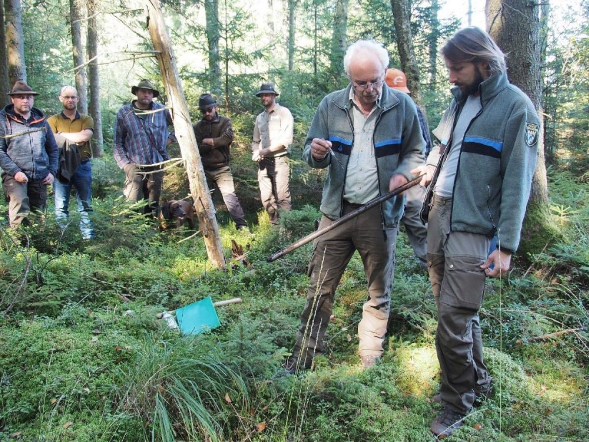 Anhand von Bodenproben erklärten Förster Max Poschner (2.v.r.) und Dominik Zellner (r.) die Beschaffenheit des Bodens und den zugehörigen Pflanzenbestand in Hochmooren.