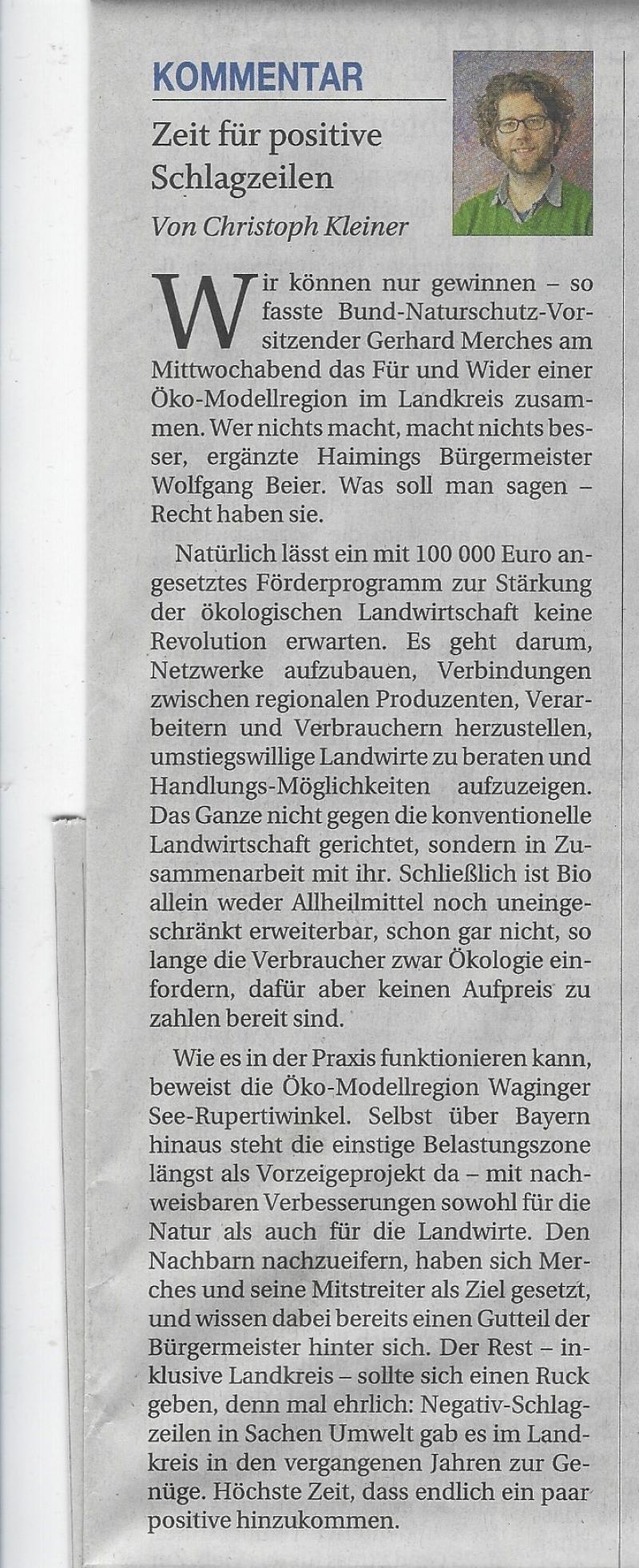 Kommentar aus der PNP vom 1.12.2018, Autor Christoph Kleiner