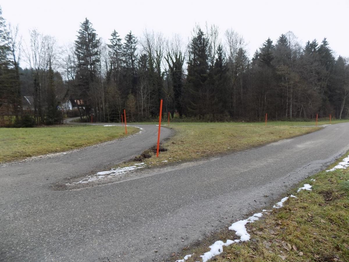 Etwas verwirrend: Die aktuelle Situation an der Gabelung der Straße Hellmannsberg-Greinachtal, hinter dem Weiler Greinachtal kurz vor dem Waldrand.